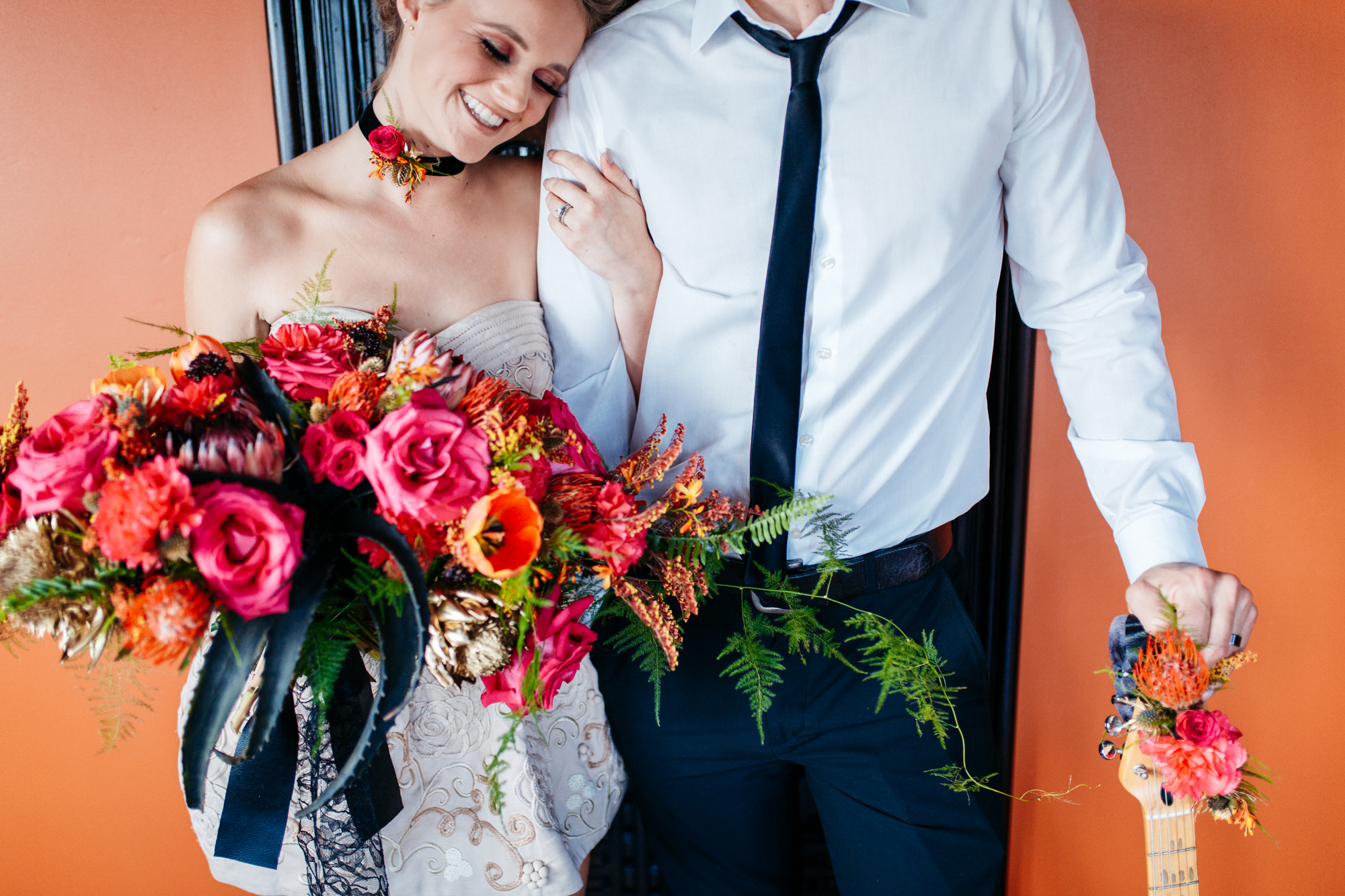 This punk rock wedding inspiration had pink floyd roses, electric guitars and some really talented venders.